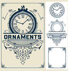 old baroque card floral and watch details with vector image