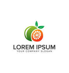 orange fruit logo design concept template fully vector image