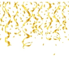 Party golden confetti streamers vector