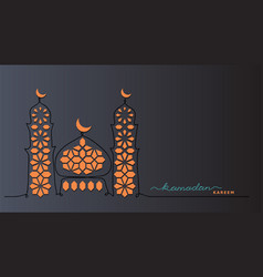 Ramadan kareem dark night background card vector