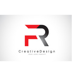 Red and black fr f r letter logo design creative vector
