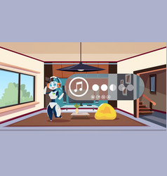robot housekeeper listen music while cleaning vector image