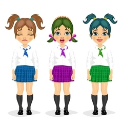schoolgirl expressions with different hairstyles vector image