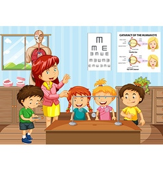 Science teacher and students in classroom vector
