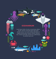Sea life border frame vector