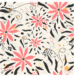 Seamless floral pattern with hand drawn pink vector