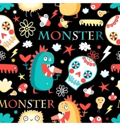 Seamless jolly pattern with monsters vector