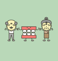 Senior man and woman with denture or false teeth vector