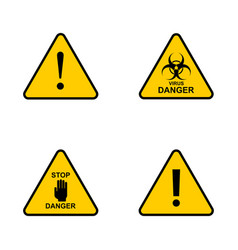 Set danger sign attention sign exclamation hazard vector