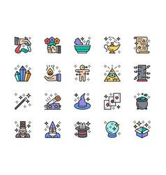 Set magic show flat color line icons vector