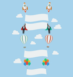 Set of balloon rocket and the flying businessman vector image