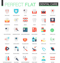 Set of flat dental care icons vector