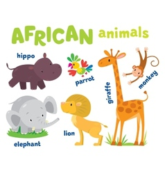 Set of funny african animals vector image