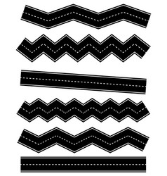 set of wavy road elements with dashed lines vector image