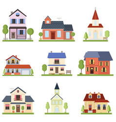 set with modern nice private houses and church vector image
