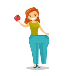 slim woman in pants showing the results of diet vector image