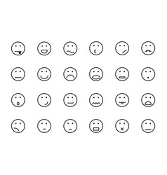smile face icon set on white background vector image