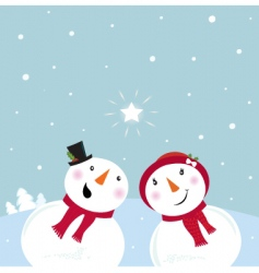snowman and woman in love vector image