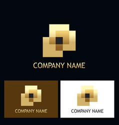 square abstract gold company logo vector image