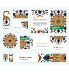 Stationery template design with colorful mandalas vector