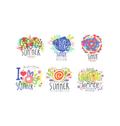 Summer logo original design collection summertime vector