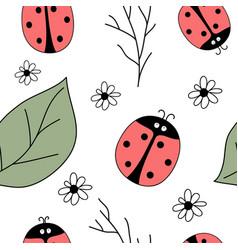 summer print with ladybird vector image