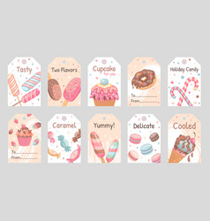 Sweets tags set vector