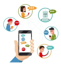 Teen friends chat on phone friendly vector image