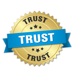 Trust round isolated gold badge vector