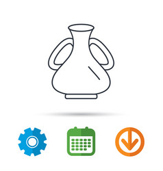 vase icon decorative vintage amphora sign vector image