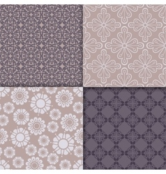 Violet and serenity geometric pattern set vector