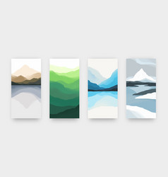 Watercolor mountains minimalist landscape posters vector