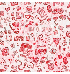 watercolor valentines day pattern vector image