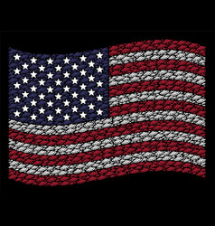 waving american flag stylization of ufo vector image