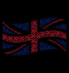 Waving british flag mosaic of crossing swords vector