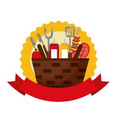 Wicker basket barbecue sauces kebab meat vector