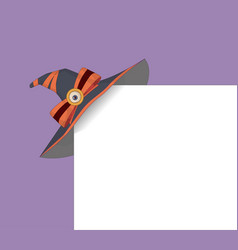 witch hat holiday card with witch hat on corner vector image