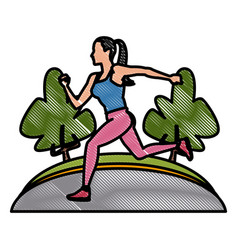 Woman running at park vector