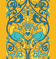 Yellow pattern with birds vector