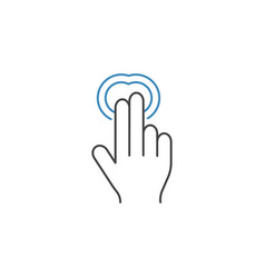 2 finger double tap line icon hand gestures vector image vector image