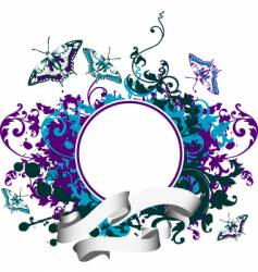 abstract grunge frame with butterfly vector image vector image