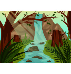 scenic wild landscape with trees and waterfall vector image