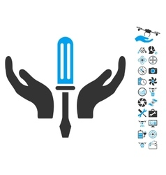 Tuning Screwdriver Maintenance Icon With Copter vector image vector image