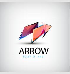 3d colorful shiny crystal arrow logo icon vector