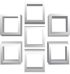 3d isolated empty bookshelf vector image