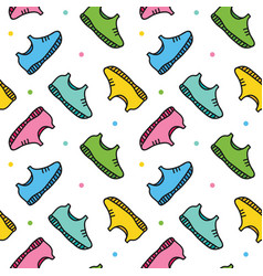 doodle sneakers shoes seamless pattern background vector image