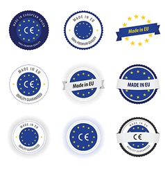 Made in EU labels badges and stickers vector image