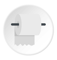white roll of toilet paper on a holder icon circle vector image vector image