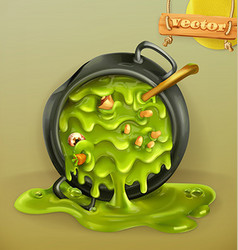 Witch Kitchen Pot with a potion Halloween 3d icon vector image