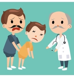 dad bring sick kids to doctor emergency medical vector image
